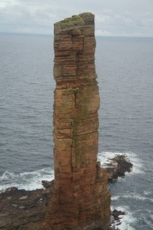 The Old Man of Hoy, the route follows the obvious crack system