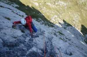 Climbing one of the brilliant long routes on the alpine wall of the Fresnidiello